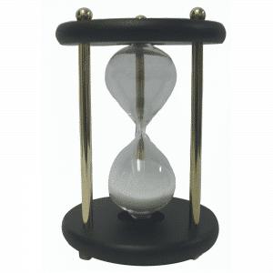 Horloge de sable de 15 min en bois avec des montants en laiton massif