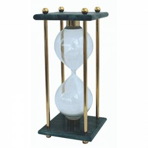 Horloge de sable de 60 min marbré avec des montants en laiton massif