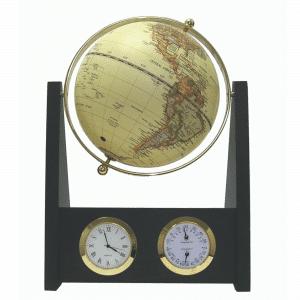 Mappemonde contemporaine avec horloge et baromètre