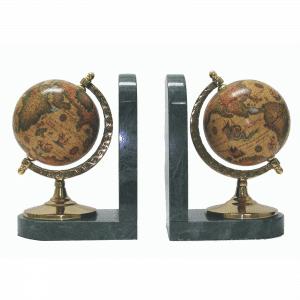 Mappemonde - Serre-livres - Style ancien avec base marbrée