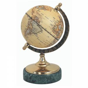 Mappemonde avec carte contemporaine et socle en marbre
