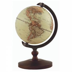 Mappemonde avec carte contemporaine et socle en bois