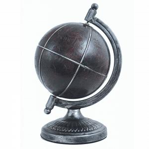 Mappemonde de l'Antiquité en cuir et métal satiné
