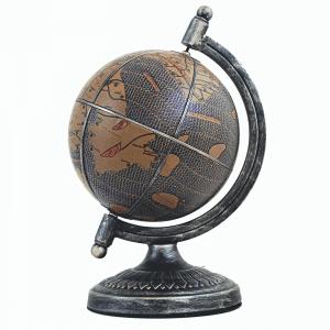 Mappemonde avec vue d'artiste en cuir et en métal satiné