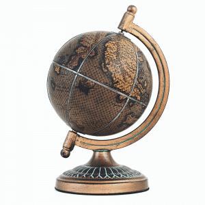 Mappemonde avec carte méditerranéenne en cuir et en bronze