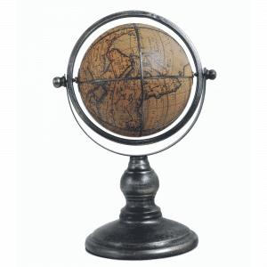 Mappemonde classique en cuir et en métal satiné