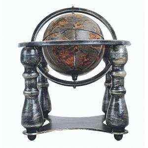 Mappemonde classique en cuir et métal satiné sur 4 pieds