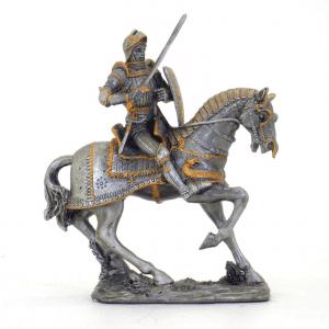 Figurine - Cavalier sur sa monture avec son épée et son bouclier