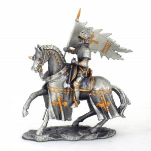 Figurine - Cavalier croisé avec son porte-étendard