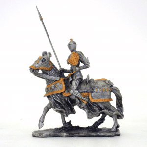 Figurine - Cavalier au trot sur sa monture avec son javelot
