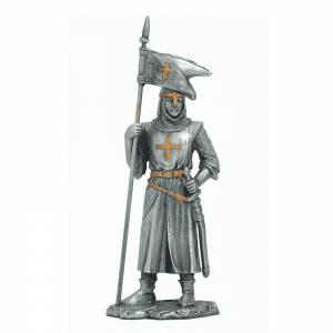 Figurine - Cavalier des Croisades avec drapeau