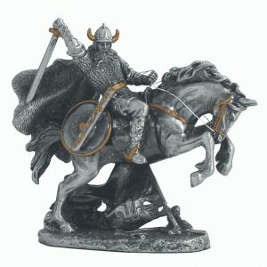 Figurine - Cavalier viking à l'assaut avec sa monture