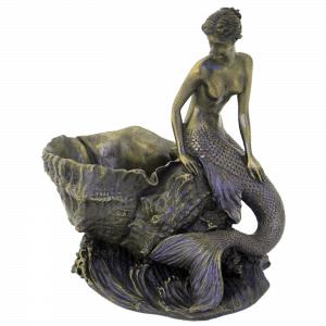 Figurine - Créature moitié-femme et moitié-poisson sur un coquillage
