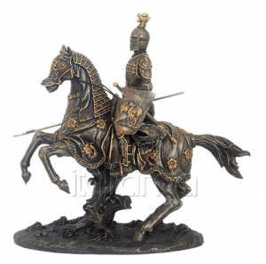 Figurine - Cavalier féodal sur sa monture avec un blason décoré d'un dragon