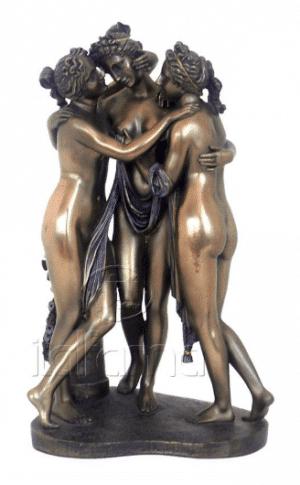 Sculpture miniature néoclassique des 3 grâces de Canova