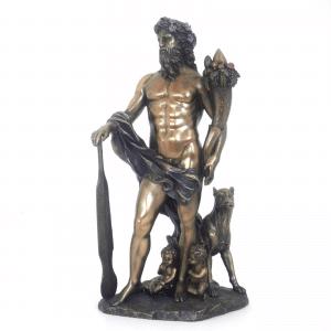 Figurine de la mythologie romaine représentant Faustulus avec sa louve
