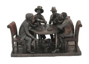 Sculpture miniature - Scène de poker entre amis