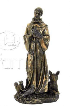 Figurine de St François d'Assise entouré d'animaux