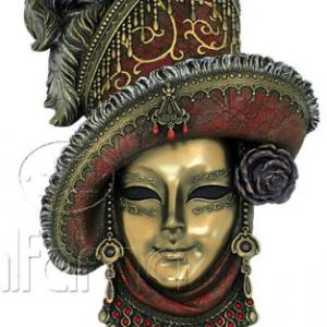 Figurine - Masque de Venise à chapeau couleur ocre