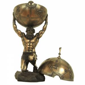 Figurine - Titan Atlas sur ses genoux portant une coupe