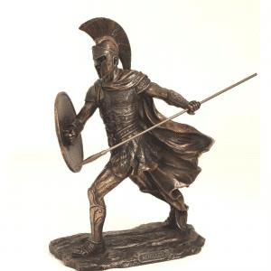Figurine - Achilles avec sa lance et son bouclier rond