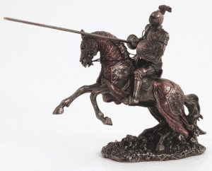 Figurine - Cavalier féodal rouge armé de sa lance