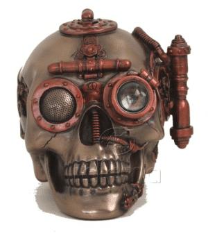 Figurine - Crâne de Steampunk équipé d'un rangement