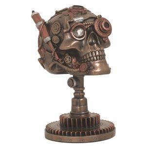 Figurine - Crâne de Steampunk sur une roue d'engrenage