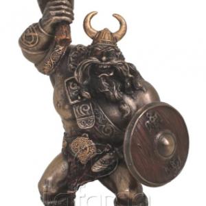 Figurine - Combattant viking avec bouclier et marteau de combat