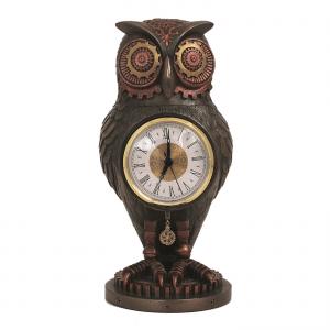 Figurine - Horloge et chouette façon Steampunk
