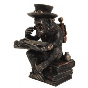 Figurine - Singe steampunk et ses bouquins