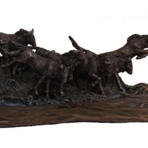 Figurine - Troupeau de buffles américains traversant une rivière