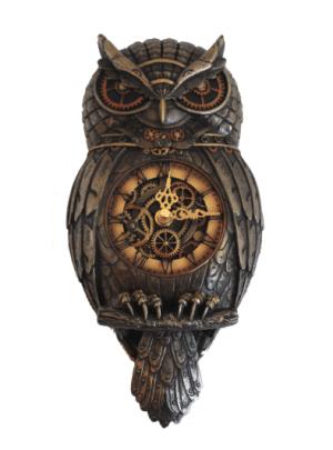 Plaque murale d'une horloge à contre-poids ornée d'une chouette Steampunk
