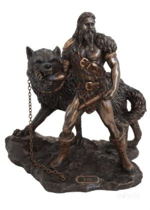 Figurine - Tyr sacrifiant son bras dans la gueule du loup Fenrir