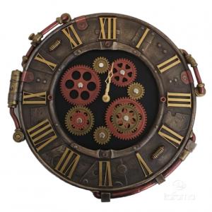 Horloge à accrocher au mur avec des roues dentées façon Steampunk